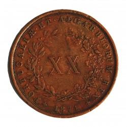 Portugal 20 Reis. 1874. CU. 25,5gr. Ø37mm. MBC/MBC+. KM. 515 - FERR. 36