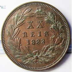 Portugal 20 Reis. 1883. CU. 12gr. Ø30mm. EBC+/SC-. (Patina). KM. 527 - FERR. 38