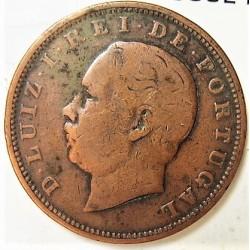 Portugal 20 Reis. 1884. CU. 11,79gr. Ø30mm. MBC-. Limpiada. KM. 527