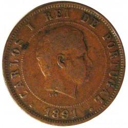 Portugal 20 Reis. 1891. CU. 12gr. Ø30mm. MBC-/MBC. KM. 533 - FERR. 15