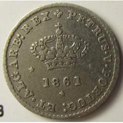Portugal 50 Reis. 1861. AG. 1,25gr. Ley:0,917. Ø15mm. MBC-/MBC. KM. 493