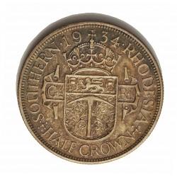 Rhodesia del Sur-(Britanica) ½ Corona. 1934. AG. 14,14gr. Ley:0,925. Ø32mm. MBC+/EBC. KM. 5