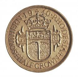 Rhodesia del Sur-(Britanica) ½ Corona. 1940. AG. 14,14gr. Ley:0,925. Ø32mm. EBC-/EBC+. KM. 15