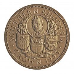 Rhodesia del Sur-(Britanica) 1 Corona. 1953. AG. 28,28gr. Ley:0,500. (Cº Cecil Rhodes). Ø39mm. SC-. ESCASO/A. KM. 27