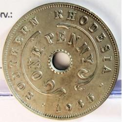 Rhodesia del Sur-(Britanica) 1 Penny. 1935. CUNI. 6,5gr. Ø27mm. MBC+. ESCASO/A. asi. KM. 7