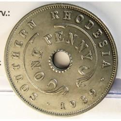 Rhodesia del Sur-(Britanica) 1 Penny. 1939. CUNI. 6,5gr. Ø27mm. EBC+/SC-. (Lev.suciedad). MUY ESCASO/A. en esta conservacion. K