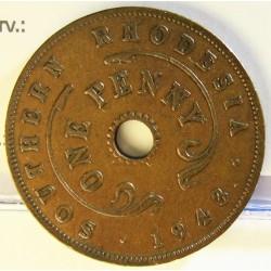 Rhodesia del Sur-(Britanica) 1 Penny. 1943. AE. 6,4gr. Ø27mm. MBC. KM. 8a