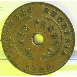 Rhodesia del Sur-(Britanica) 1 Penny. 1947. AE. 6,4gr. Ø27mm. MBC+. KM. 8a