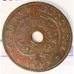 Rhodesia del Sur-(Britanica) 1 Penny. 1951. AE. 6,4gr. Ø27mm. MBC-. KM. 25