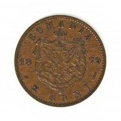 Rumania 2  Bani. 1879. B-(Bucarest). CU. 2gr. Ø20mm. SC-/SC. (Patina oscura). MUY RARO/A. en esta conservacion. KM. 11.1