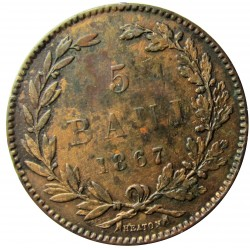 Rumania 5  Bani. 1867. Heaton. CU. 5gr. Ø25mm. MBC-/MBC. (Parcialmente limpiada). KM. 3.1
