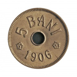 Rumania 5  Bani. 1906. J-(Hamburgo). CUNI. 2,32gr. Ø19mm. SC-/SC. (Tono original). RARO/A. en esta conservacion. KM. 32