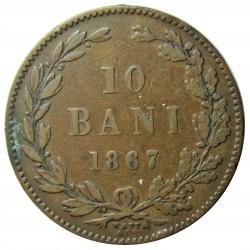 Rumania 10  Bani. 1867. W-(Wat & Cia.). CU. 10gr. Ø30mm. MBC-/MBC. KM. 4.2