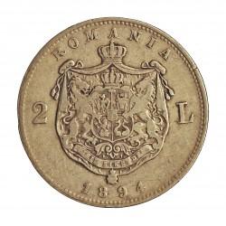 Rumania 2  Leu. 1894. AG. 10gr. Ley:0,835. Ø27mm. MBC/MBC-. KM. 25