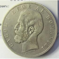 Rumania 5  Leu. 1883. B-(Bucarest). AG. 25gr. Ley:0,900. Ø37mm. MBC-. KM. 17.1