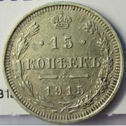 Rusia-IMPERIO 15 Kopek. 1915. (Petrogrado). B/C. AG. 2,7gr. Ley:0,500. Ø19,5mm. EBC+/SC-. KM. 21a.3