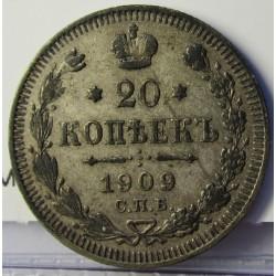 Rusia-IMPERIO 20 Kopek. 1909. CIIb-(St.Petersburg). AG. 3,6gr. Ley:0,500. Ø22mm. MBC+/EBC-. KM. 22a.1