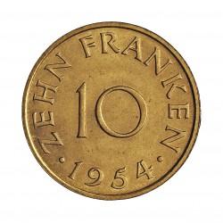 Saarland 10 Francos. 1954. (a)-Paris. AL/AE. 3gr. Ø20mm. SC. (Todo su tono original). RARO/A. y mas así. KM. 1