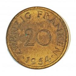 Saarland 20 Francos. 1954. (a)-Paris. AL/AE. 4gr. Ø23mm. SC-/SC. (Casi todo su tono original). RARO/A. y mas en esta conservaci