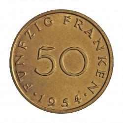 Saarland 50 Francos. 1954. (a)-Paris. AL/AE. 8gr. Ø27mm. SC. (Todo su tono original). RARO/A. en esta conservacion. KM. 3