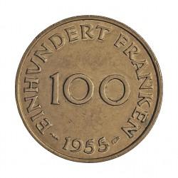 Saarland 100 Francos. 1955. A-(Paris). CUNI. 6gr. Ø23,5mm. EBC-/EBC. MUY ESCASO/A. asi. KM. 4