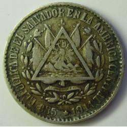 Salvador.-El 5 Ctvo. 1914. Filadelfia. AG. 1,25gr. Ley:0,835. Ø14mm. MBC. KM. 124