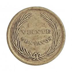 Salvador.-El 20 Ctvo. 1892. C.A.M. AG. 5gr. Ley:0,835. Ø22mm. BC+/MBC-. MUY ESCASO/A. KM. 111