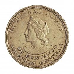 Salvador.-El 50 Ctvo. 1893. C.A.M. AG. 12,5gr. Ley:0,900. Ø31mm. MBC/MBC+. (Muliples marquitas anv.). KM. 113