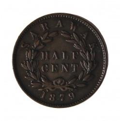 Sarawak ½ Cent. 1879. CU. 4,5gr. (Colonia Britanica). (C.V.Broke Raja II). Ø22,5mm. MBC/MBC+. (Patina). MUY ESCASO/A. KM. 5