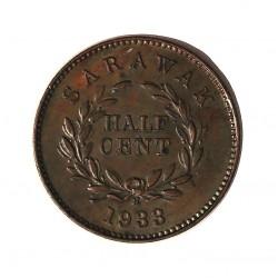 Sarawak ½ Cent. 1933. H-(Heaton). AE. 3gr. (Colonia Britanica). (C.V.Broke Raja II). Ø18mm. SC-. (Lev.patina). MUY ESCASO/A. y