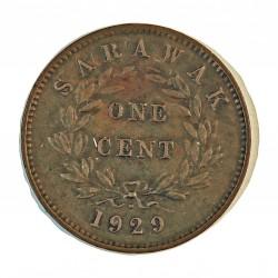 Sarawak 1 Cent. 1929. H-(Heaton). AE. 3gr. (Colonia Britanica). (C.V.Broke Raja II). Ø24,5mm. MBC-. (Lev.patina). KM. 18