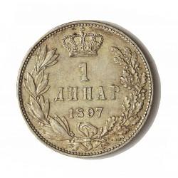 Serbia 1  Dinara. 1897. AG. 10gr. Ley:0,835. Ø23mm. SC-. MUY ESCASO/A. en esta conservación.  KM. 21