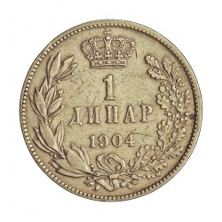 Serbia 1  Dinara. 1904. AG. 5gr. Ley:0,835. Ø23mm. MBC-/MBC. KM. 25.1