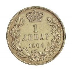 Serbia 1  Dinara. 1904. AG. 5gr. Ley:0,835. Ø23mm. MBC/MBC+. KM. 25.1