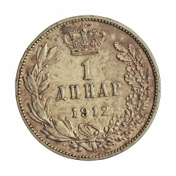 Serbia 1  Dinara. 1912. AG. 5gr. Ley:0,835. Ø23mm. MBC+/EBC-. KM. 25.1