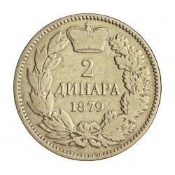 Serbia 2  Dinara. 1879. AG. 10gr. Ley:0,835. Ø27mm. MBC/MBC+. KM. 11