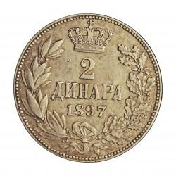 Serbia 2  Dinara. 1897. AG. 10gr. Ley:0,835. Ø27mm. MBC+/EBC-. KM. 22