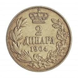 Serbia 2  Dinara. 1904. AG. 10gr. Ley:0,835. Ø27mm. MBC+. KM. 26.1