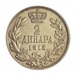 Serbia 2  Dinara. 1915. AG. 10gr. Ley:0,835. (Sin nombre del diseñador). Ø27mm. EBC-. (Insig.gpcto.). MUY RARO/A. KM. 26.2
