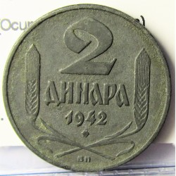 Serbia 2  Dinara. 1942. BP-(Budapest). ZN. 4gr. (Ocupación Alemana). Ø21mm. EBC+. (Muy nueva c0n lev.oxid..Patina oscura). KM. 3