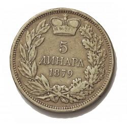 Serbia 5  Dinara. 1879. AG. 25gr. Ley:0,900. Ø37mm. MBC-/MBC. KM. 12