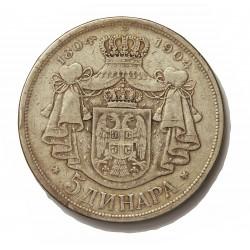 Serbia 5  Dinara. 1904. AG. 25gr. Ley:0,900. (100º Anv.dinastia). 37mm. MBC-/MBC. MUY ESCASO/A. KM. 27