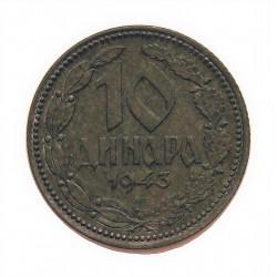 Serbia 10  Dinara. 1942. BP-(Budapest). ZN. 6,1gr. (Ocupación Alemana). Ø26mm. SC-/SC. (Nueva con casi inapreciables puntitos).