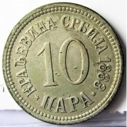 Serbia 10  Para. 1883. CUNI. 4gr. Ø20mm. MBC/MBC+. KM. 19