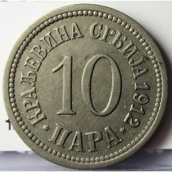 Serbia 10  Para. 1912. CUNI. 4gr. Ø20mm. EBC/EBC+. KM. 19