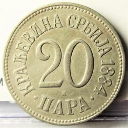 Serbia 20  Para. 1884. CUNI. 6gr. Ø22mm. MBC+. KM. 20