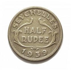 Seychelles.-Islas ½ Rupia. 1939. AG. 5,83gr. Ley:0,500. Ø23mm. BC+/MBC-. KM. 3