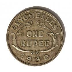 Seychelles.-Islas 1 Rupia. 1939. AG. 11,66gr. Ley:0,500. Ø29,5mm. MBC+/EBC-. KM. 4