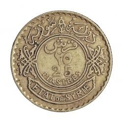Siria 25 Piastras. 1929. AG. 5gr. Ley:0,680. Ø23mm. MBC/MBC+. KM. 73