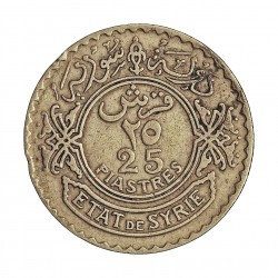 Siria 25 Piastras. 1933. (a)-Paris. AG. 5gr. Ley:0,680. Ø23mm. MBC. KM. 73